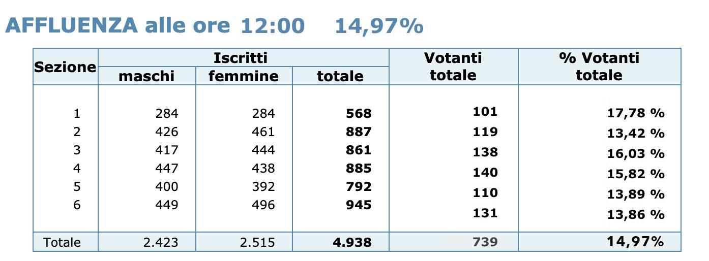 Affluenza referendum ore 12:00 - (20 settembre 2020)