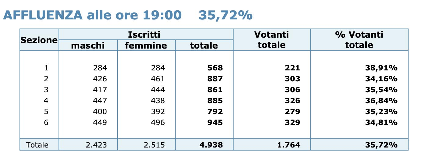 Affluenza referendum ore 19:00 - (20 settembre 2020)