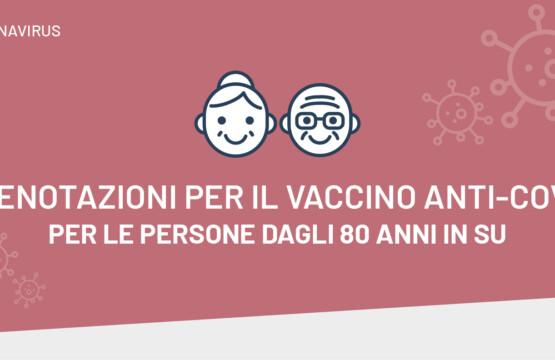 Vaccino anti-Covid per le persone dagli 80 anni in su
