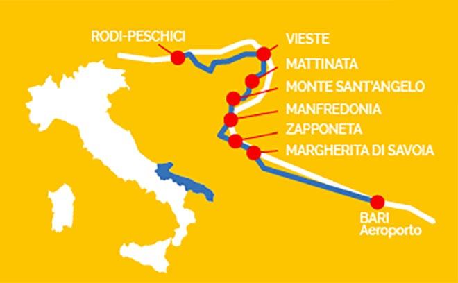 Le tratte della navetta bus Aeroporto Bari-Gargano